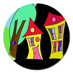 Two Houses 2 Magnet 5  (round) by Valentinaart