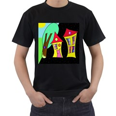Two Houses 2 Men s T-shirt (black) (two Sided)