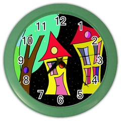 Two Houses 2 Color Wall Clocks by Valentinaart
