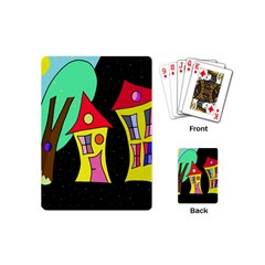 Two Houses 2 Playing Cards (mini)  by Valentinaart