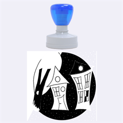 Two Houses 2 Rubber Round Stamps (large)
