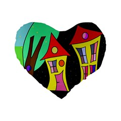 Two Houses 2 Standard 16  Premium Flano Heart Shape Cushions by Valentinaart