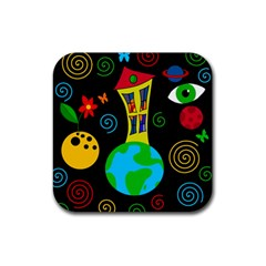 Playful Universe Rubber Coaster (square)  by Valentinaart