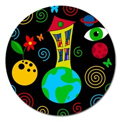 Playful Universe Magnet 5  (round) by Valentinaart