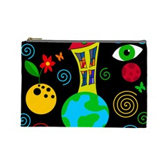 Playful Universe Cosmetic Bag (large)  by Valentinaart