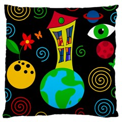 Playful Universe Large Cushion Case (one Side) by Valentinaart