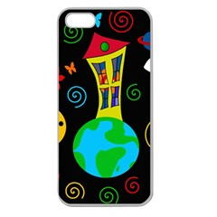 Playful Universe Apple Seamless Iphone 5 Case (clear) by Valentinaart