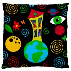 Playful Universe Large Flano Cushion Case (one Side) by Valentinaart