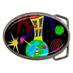 Colorful Universe Belt Buckles by Valentinaart