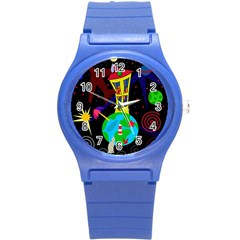 Colorful Universe Round Plastic Sport Watch (s) by Valentinaart