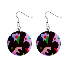 Decorative Abstraction Mini Button Earrings by Valentinaart