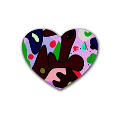 Decorative Abstraction Rubber Coaster (heart)  by Valentinaart