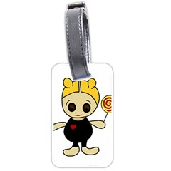 Cute Doll Girl Luggage Tags (one Side)  by Valentinaart