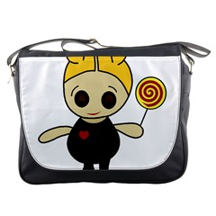 Cute Doll Girl Messenger Bags by Valentinaart