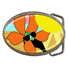 Sunflower On Sunbathing Belt Buckles by Valentinaart