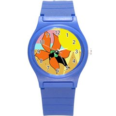 Sunflower On Sunbathing Round Plastic Sport Watch (s) by Valentinaart