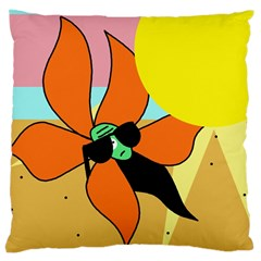 Sunflower On Sunbathing Large Cushion Case (one Side) by Valentinaart