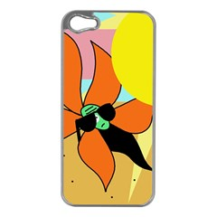 Sunflower On Sunbathing Apple Iphone 5 Case (silver) by Valentinaart