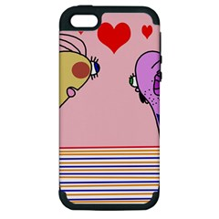 Love Apple Iphone 5 Hardshell Case (pc+silicone) by Valentinaart