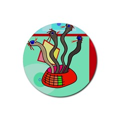 Dancing  Snakes Rubber Round Coaster (4 Pack)  by Valentinaart