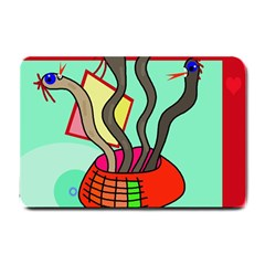 Dancing  Snakes Small Doormat  by Valentinaart