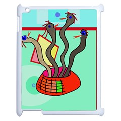 Dancing  Snakes Apple Ipad 2 Case (white) by Valentinaart