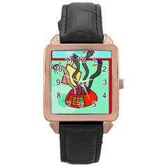 Dancing  Snakes Rose Gold Leather Watch  by Valentinaart