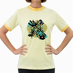 Abstract Decor   Blue Women s Fitted Ringer T Shirts