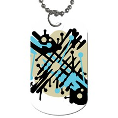 Abstract Decor   Blue Dog Tag (two Sides) by Valentinaart