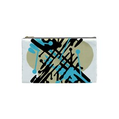 Abstract Decor   Blue Cosmetic Bag (small)  by Valentinaart