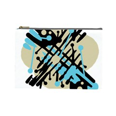 Abstract Decor   Blue Cosmetic Bag (large)  by Valentinaart