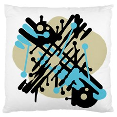 Abstract Decor   Blue Large Flano Cushion Case (one Side) by Valentinaart