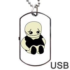 Halloween Sad Monster Dog Tag Usb Flash (one Side) by Valentinaart