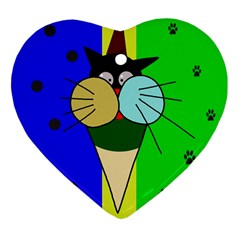 Ice Cream Cat Ornament (heart)  by Valentinaart
