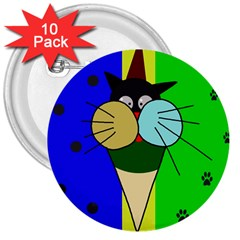 Ice Cream Cat 3  Buttons (10 Pack)  by Valentinaart