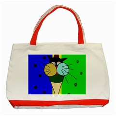 Ice Cream Cat Classic Tote Bag (red) by Valentinaart