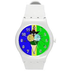 Ice Cream Cat Round Plastic Sport Watch (m) by Valentinaart