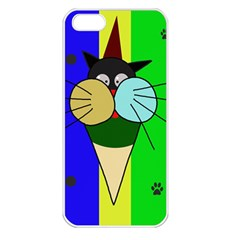 Ice Cream Cat Apple Iphone 5 Seamless Case (white) by Valentinaart