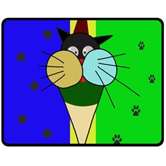 Ice Cream Cat Double Sided Fleece Blanket (medium)  by Valentinaart