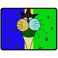Ice Cream Cat Double Sided Fleece Blanket (large)  by Valentinaart