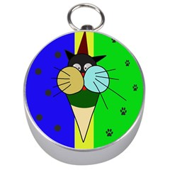Ice Cream Cat Silver Compasses by Valentinaart