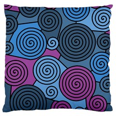 Blue Hypnoses Large Cushion Case (two Sides) by Valentinaart
