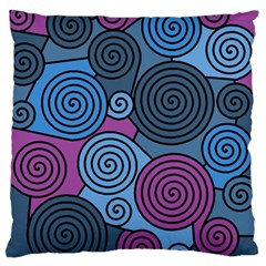 Blue Hypnoses Large Flano Cushion Case (one Side) by Valentinaart