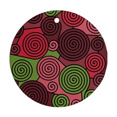 Red And Green Hypnoses Ornament (round)  by Valentinaart