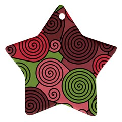 Red And Green Hypnoses Star Ornament (two Sides)  by Valentinaart