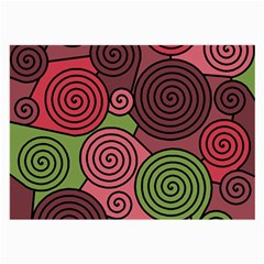 Red And Green Hypnoses Large Glasses Cloth by Valentinaart