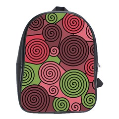 Red And Green Hypnoses School Bags(large)  by Valentinaart