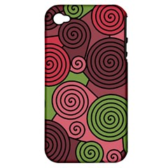 Red And Green Hypnoses Apple Iphone 4/4s Hardshell Case (pc+silicone) by Valentinaart
