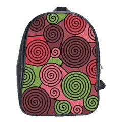 Red And Green Hypnoses School Bags (xl)  by Valentinaart