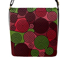 Red And Green Hypnoses Flap Messenger Bag (l)  by Valentinaart